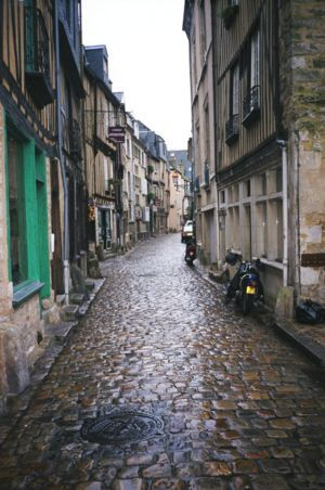 A street in the most historic part of Le Mans, France.  The Congregation of Holy Cross was named after the Sainte-Croix district of the city, where it was founded.