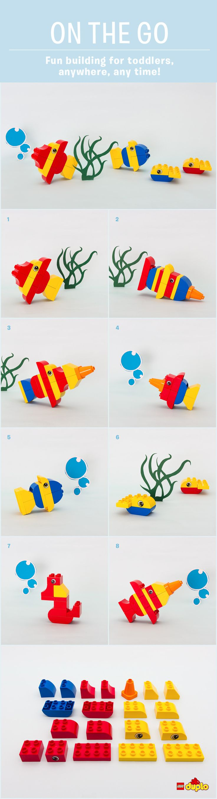 Find out how to build these amazing seahorses, swordfish, whales and more. All with 20 LEGO DUPLO bricks or less! http://www.lego.com/en-us/family/articles/on-the-go-deep-sea-safari-9fc5bf100d8849db8237537717600a63