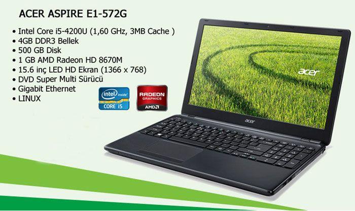 "Acer ASPIRE E1-572G 54204G50MNKK i5-4200 4GB 500GB 1GB HD8670 15.6"" http://www.kelepirsepet.com/acer-aspire-e1-572g-54204g50mnkk-nx-m8key-002-laptop.html"