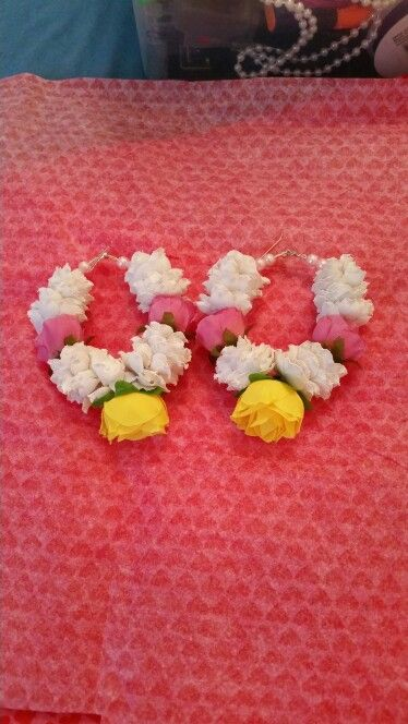 Artificial flower hoops by bridal flower jewellery www.bridalflowerjewellery.weebly.com
