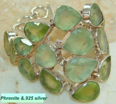 Sterling silver and phrenite big bracelet.~ SOLD ~