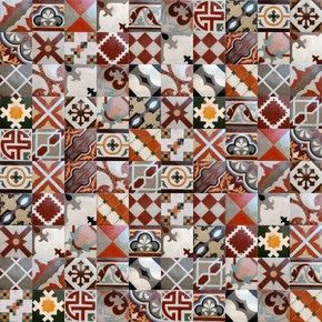 patchwork rug made from old spanish patterned tiles,more info here :www.luxurystyle.es