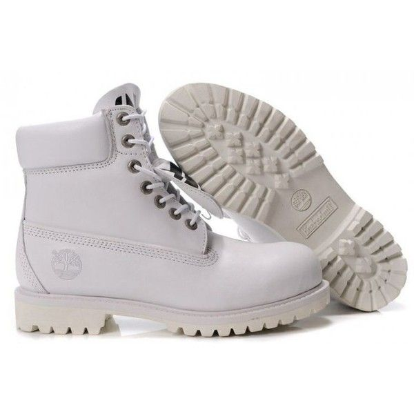 #White #Timberland #Boots ❤ liked on Polyvore featuring shoes, boots, timberland shoes, timberland footwear, timberland boots, white boots and white shoes