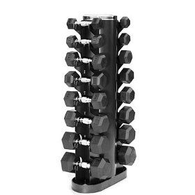 VTX 3-25 lb. Dumbbell Set w/Rack, (dumbbells, hex dumbells, weights, dumbells, weight training, hex dumbbells, body solid, 20 lb weights, weight lifting, home workout)