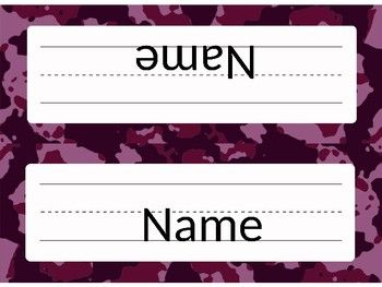 Get your elementary classroom off to the right start with these camouflage themed name plates! The name plates come in four different colors in an editable PowerPoint, so you can directly type your students names onto them. These name plates come in two styles.