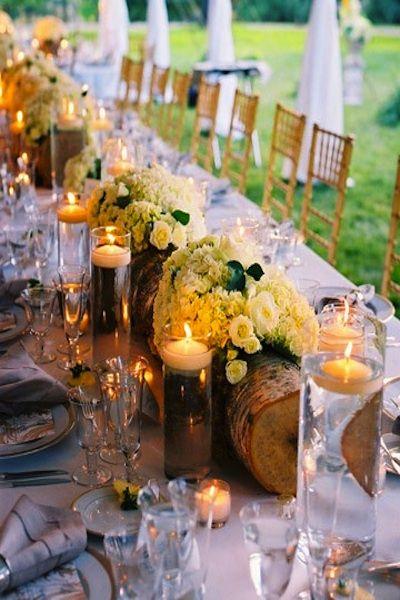Autumn Wedding Centerpiece - Logs, flowers & floating candles