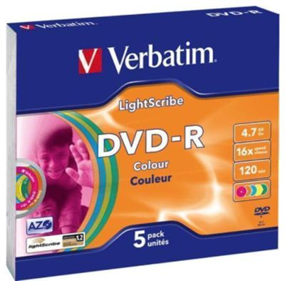 Verbatim DVD-R, 16x, 4,7GB/120min, AZO, LightScribe, eri värit, 5-pakkaus