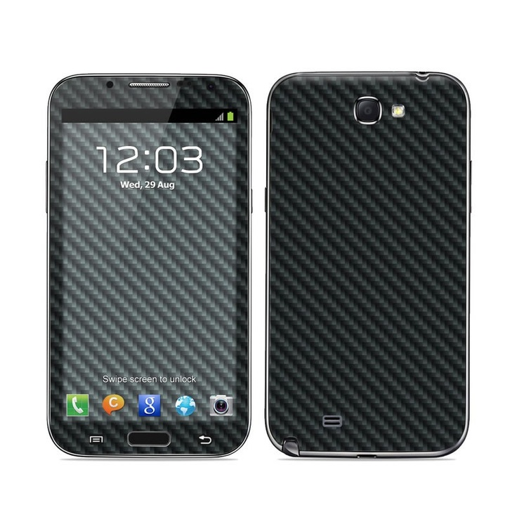 Carbon design seen on a Galaxy Note 2 Skin Kit with matching screen wallpaper graphic     For those who don't want to pay the hefty price tag for real carbon-fibre material but who love the minimalistic look and colour of this pattern