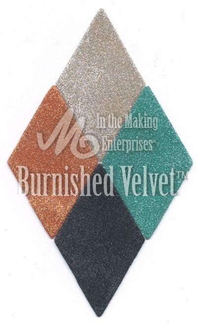 Glitter Ritz combo for Burnished Velvet Technique. 71MFP STARDUST, 29MFP ICE BLUE, 31MFP BLACK, 5MFP COPPER. www.inthemaking.ca