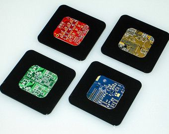 Circuit Board and Matte Black Acrylic Coasters - Geeky Gifts - Tech Accessories - Computer Programmer Gifts - Modern Apartment Decor