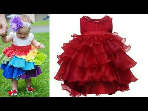 ef9cefd99315 Designer party wear frill frock for baby girls easy tutorial ...