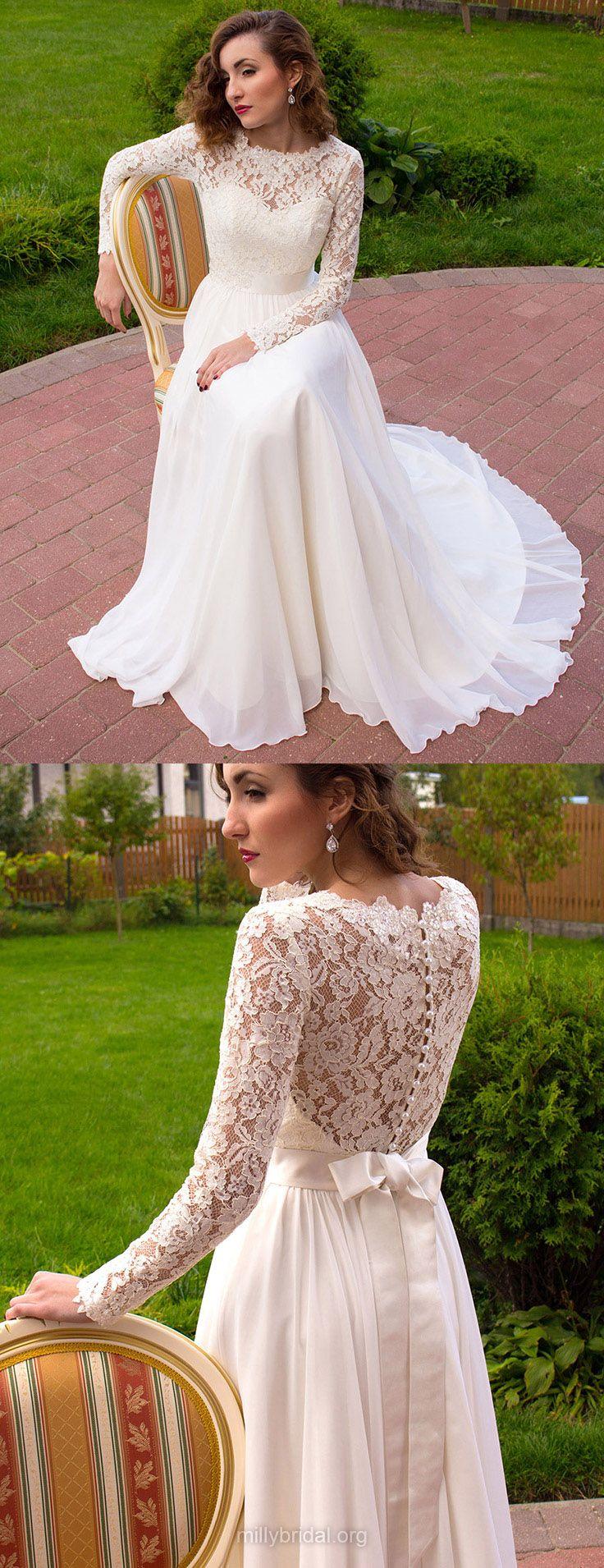 Lace Wedding Dresses A-line, 2018 Bridal Gowns Long Sleeve, Modest Wedding Dress Scoop Neck Chiffon, Elegant Wedding Dresses Cheap