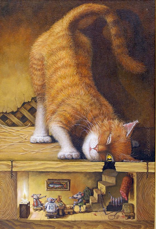Charming illustration by Lev Bartenev, cat & mice