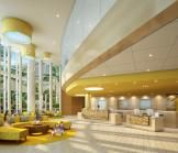 The public lobby space is an urban, pedestrian environment that includes guest services and registration in the main reception area, a gift shop, lounge and media area, and access to the chapel. The interiors use colors and materials reflective of the surrounding sun, surf, and sand.