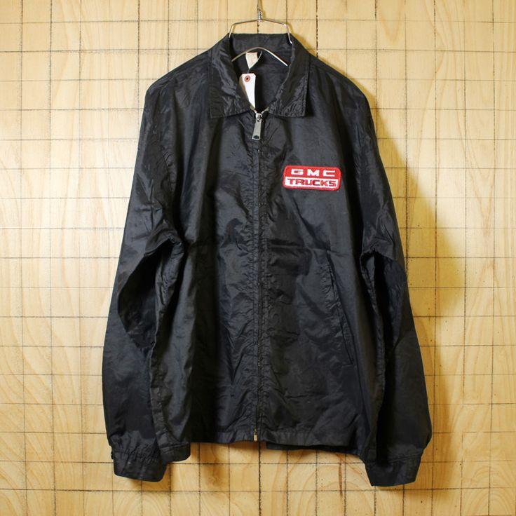 Louisville/USA製70s古着/ブラック/GMC TRUCKSワッペン/ナイロンレーシングワークジャケット/メンズM