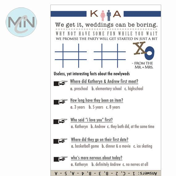 Tic Tac Toe & Couple Questionnaire. Table Setting. Program Insert. Weddings Can Be Boring.