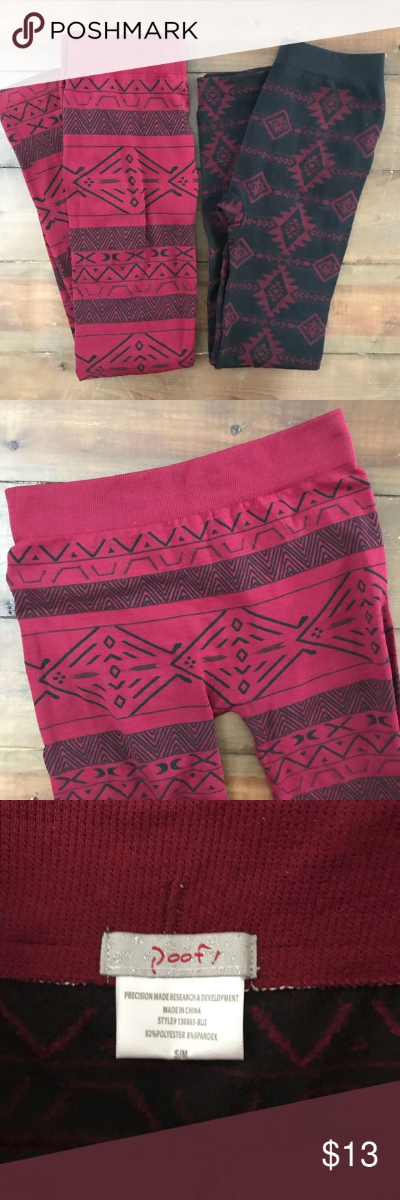 Bundle of 2 Tribal Print Leggings Garnet & Black 2 pairs of leggings! Garnet and black colors with tribal print. Both are super soft and cozy on the inside. Black is Pink Rose brand size small and garnet is Poof brand size small/medium. They fit similar! Pants Leggings