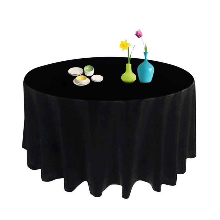 90Inch Round Tablecloth Wedding Party Table Banquet Linens Cover Satin Black