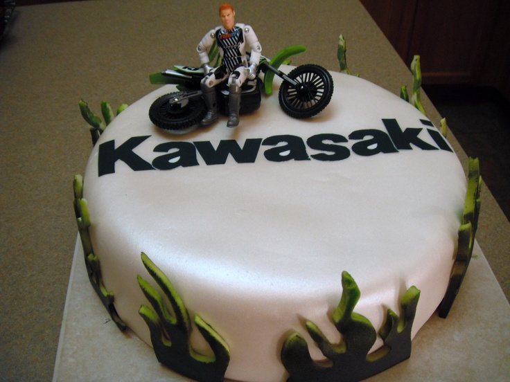 Birthday Cake Ideas Motorcycle : Kawasaki Motorcycle sports bike birthday cake Race ...