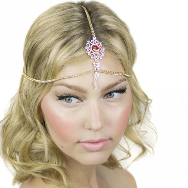 Crystal Teardrop Pendant Tikka Headpiece
