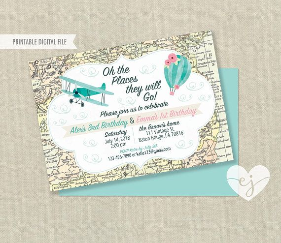 Brother Sister Birthday Invitation Sibling Invitation Joint Birthday Invite Oh The Places They Will Go Airplane Hot Air Balloon Party In 2020 Sibling Birthday Parties Joint Birthday Parties 1st Birthday Party