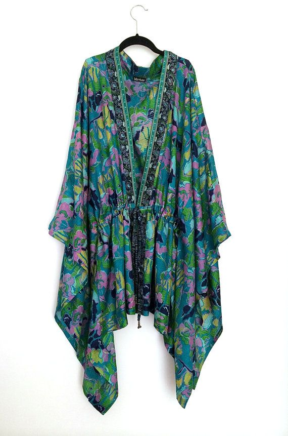 Silk kaftan top / beach cover up/ kimono jacket teal by Bibiluxe, £80.00