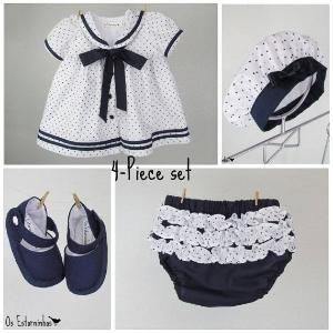 Thursday Handmade Love Week 67 Theme: Sailor Includes links to #free #crochet patterns  Baby Girl Outfit - Baby Girl sailor cotton dress with navy blue stars, baby diaper cover,  beret and baby booties - 4-piece set via Etsy by china style