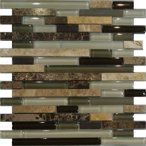 Sample Brown Glass Natural Stone Linear Mosaic Tile Wall: Sample-Marble Stone Green Brown White Glass Linear Mosaic