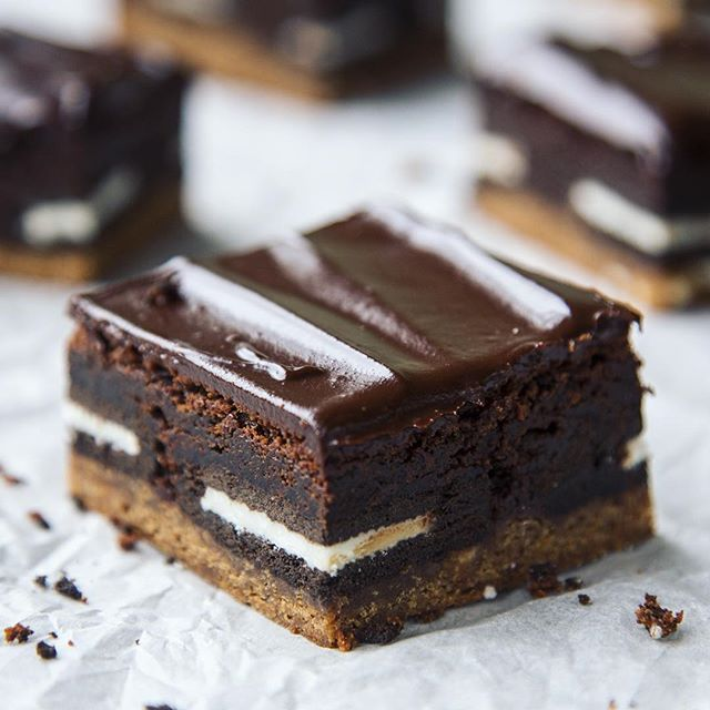 Triple Layer Brownies With Chocolate Chip Cookie Dough, Cookies & Cream And Chocolate Glaze