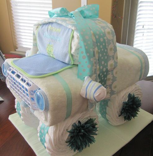 Diaper Cake Centerpiece For Baby Shower : Baby Shower Truck Diaper Cake Centerpiece! You bet your ...