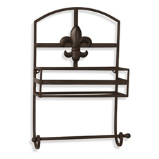 This fleur de lis metal wall shelf this towel bar from bed bath and beyond would be perfect by - Fleur de lis towel bar ...