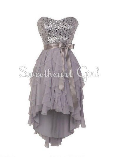 Pretty Sweetheart neckline high - low prom dress / homecoming dress.... i have this in gold! <3333