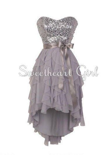 Pretty Sweetheart neckline high - low prom dress / homecoming dress