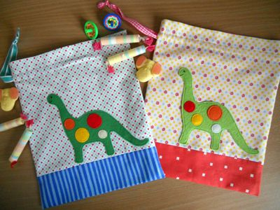 Drawstring Dino Bags http://sewmamasew.com/blog2/2011/08/drawstring-bags-dino-party-applique/