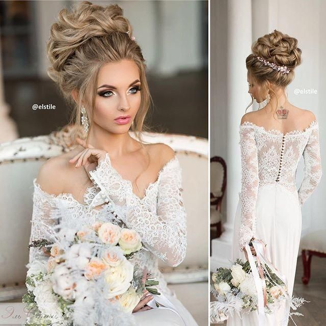 Weddbook ♥ Gorgeous bu perfectly suited for curly and long hairs, You will  love this hairstyle perfect for the wedding dress. Get some personalized hairstyle for your wedding