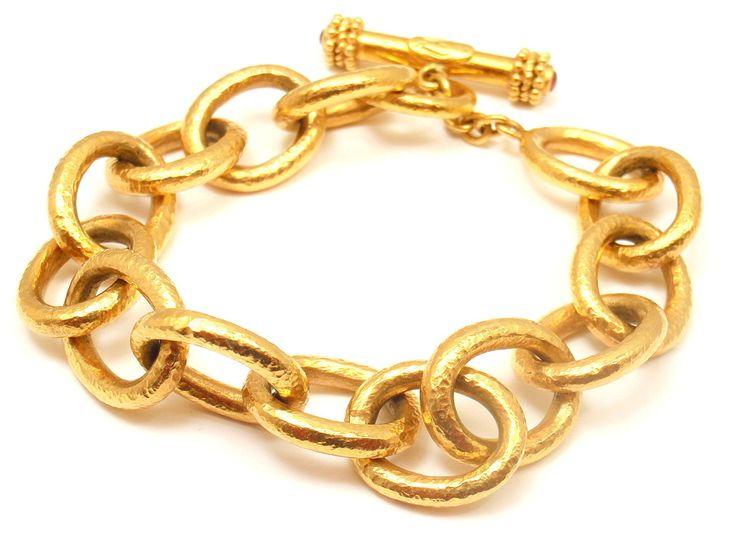 Elizabeth Locke Jewelry | ELIZABETH LOCKE Hammered Yellow Gold Link Bracelet at 1stdibs