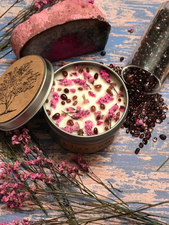 Cherry Blossom Candle,Crystal Candle,Botanical Candle,Botanical Candle,Meditation candle, Quartz Can