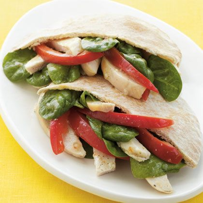 Chicken Pita Sandwich - Okay, this is for me, not the family.  I LOVE this - ate almost every day for a week!  So easy, so good.  Part of the Carb Lovers Diet.