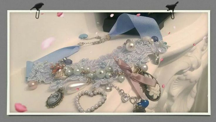 Handmade lace embelished collerette with charms