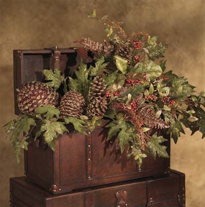 Wooden Chest Filled With Greenery, Pinecones!~