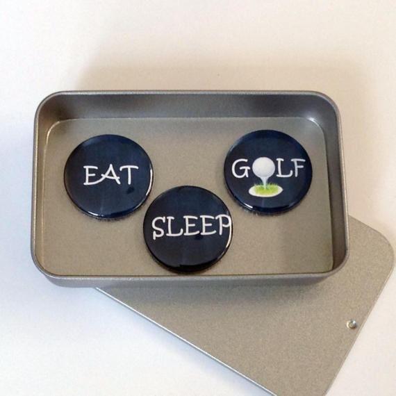 Fun Golf Gift Eat Sleep Golf Magnet Gift Set with Gift Tin