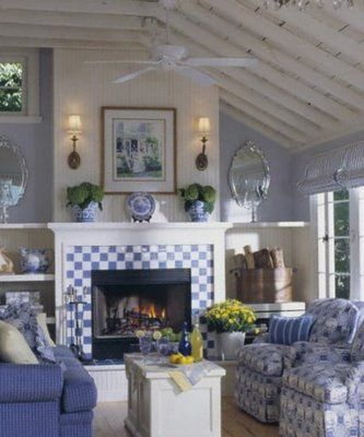I do like those blue and white tiles. Kitchen, bathroom, fireplace surround... someplace!