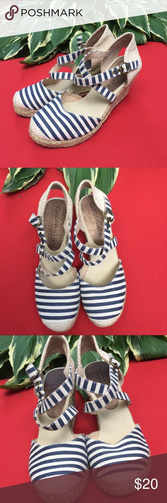 Blue and White Espadrilles by Coconuts NWOT, sticker still on bottom. Super cute, just too small for me, size 7. Blue and white stripes closed toe, low wedge espadrilles. Coconuts Shoes Wedges