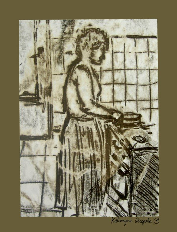 Mama w kuchni (Mom in the Kitchen), monotype, 2007 #monotype #monotypia #print #printing #druk #drukowanie #uljado