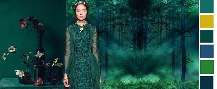 Silent Green  Dit kleurthema is geïnspireerd op diep bosgroenen met als accent mosterd- of goudgeel. In dit beeld beleven we verstilling en religie. Het is sereen en mystiek; de groenen zijn geïnspireerd op het donkere woud waarin zonlicht schijnt.