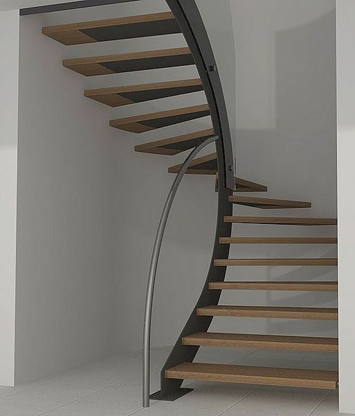 Half-turn-wooden-floating-staircase by Interbau
