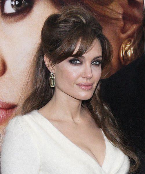 Angelina Jolie Half Up Long Straight Casual Half Up Hairstyle Angelina Jolie Hairstyles
