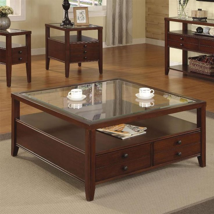Coffee Table Square Glass And Wood Table With Two Small Tables Also A  Closet And Also