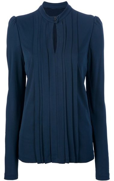 Burberry Long Sleeve Key Hole Blouse
