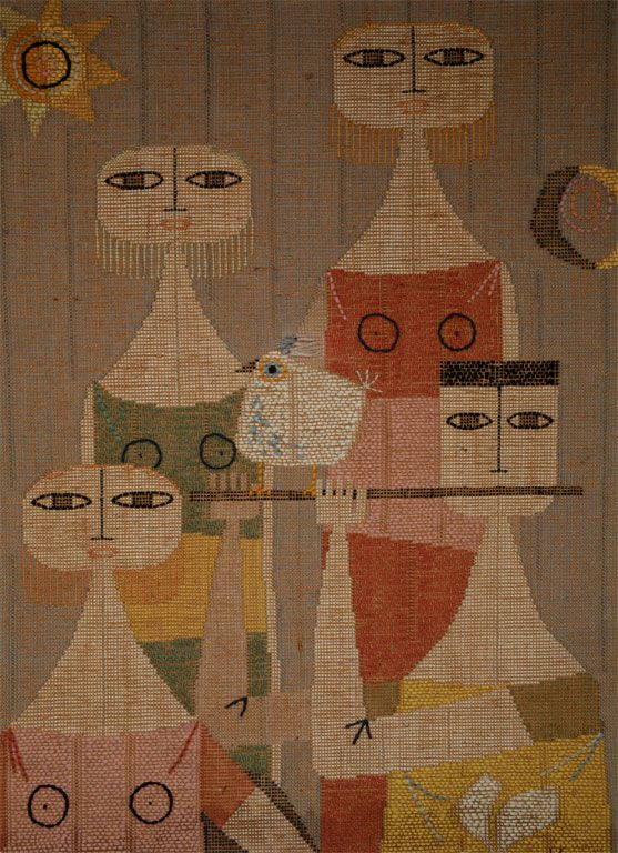 Mid Century French Tapestry | From a unique collection of antique and modern tapestries at http://www.1stdibs.com/furniture/wall-decorations/tapestry/